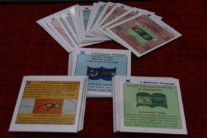 vier sets kaarten voor vier ronden in een morele dialoog
